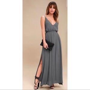 Lost in Paradise Slate Grey Maxi Dress